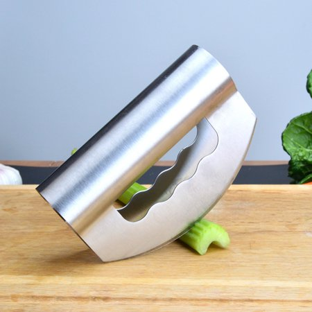 Jeobest Salad Chopper Knife - Double Blade Salad Chopper - Stainless Steel Double Blade Vegetable Salad Chopper knife with Protective Cover Herb Mincing Vanilla Knife Salad Chopper MZ