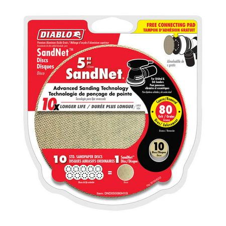 Diablo SandNet 5 in. Aluminum Oxide Hook and Lock Sanding Disc 80 Grit Coarse 10 pk
