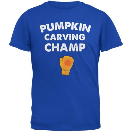 Halloween Pumpkin Carving Champ Royal Adult T-Shirt](Halloween Movie Pumpkin Carving)