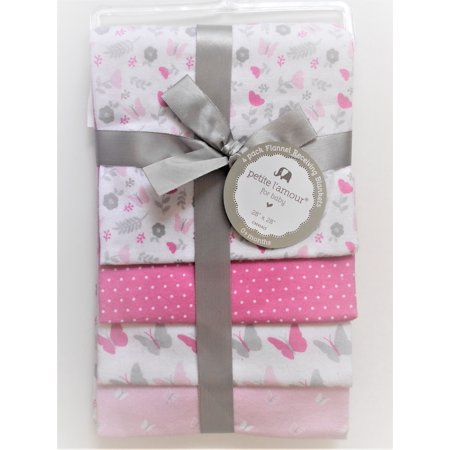 PETITE L'AMOUR 4 PACK FLANNEL RECEIVING BLANKETS BABY - GIRLS - BUTTERFLIES PINK