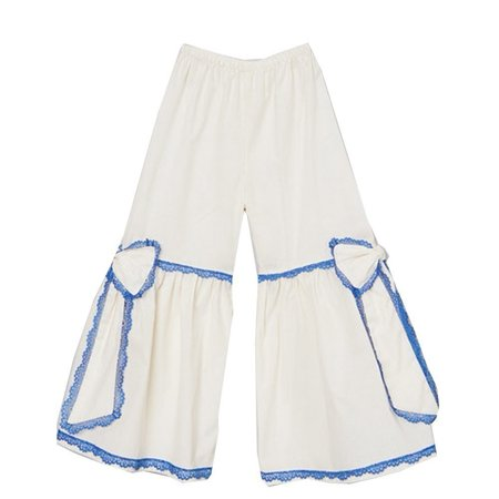 Little Girls Ivory Blue Scalloped Lace Trim Bow Accent Flare Pants 12M-6