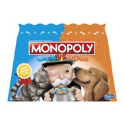 Monopoly Cats Vs. Dogs Board Game for Kids Ages 8 and Up