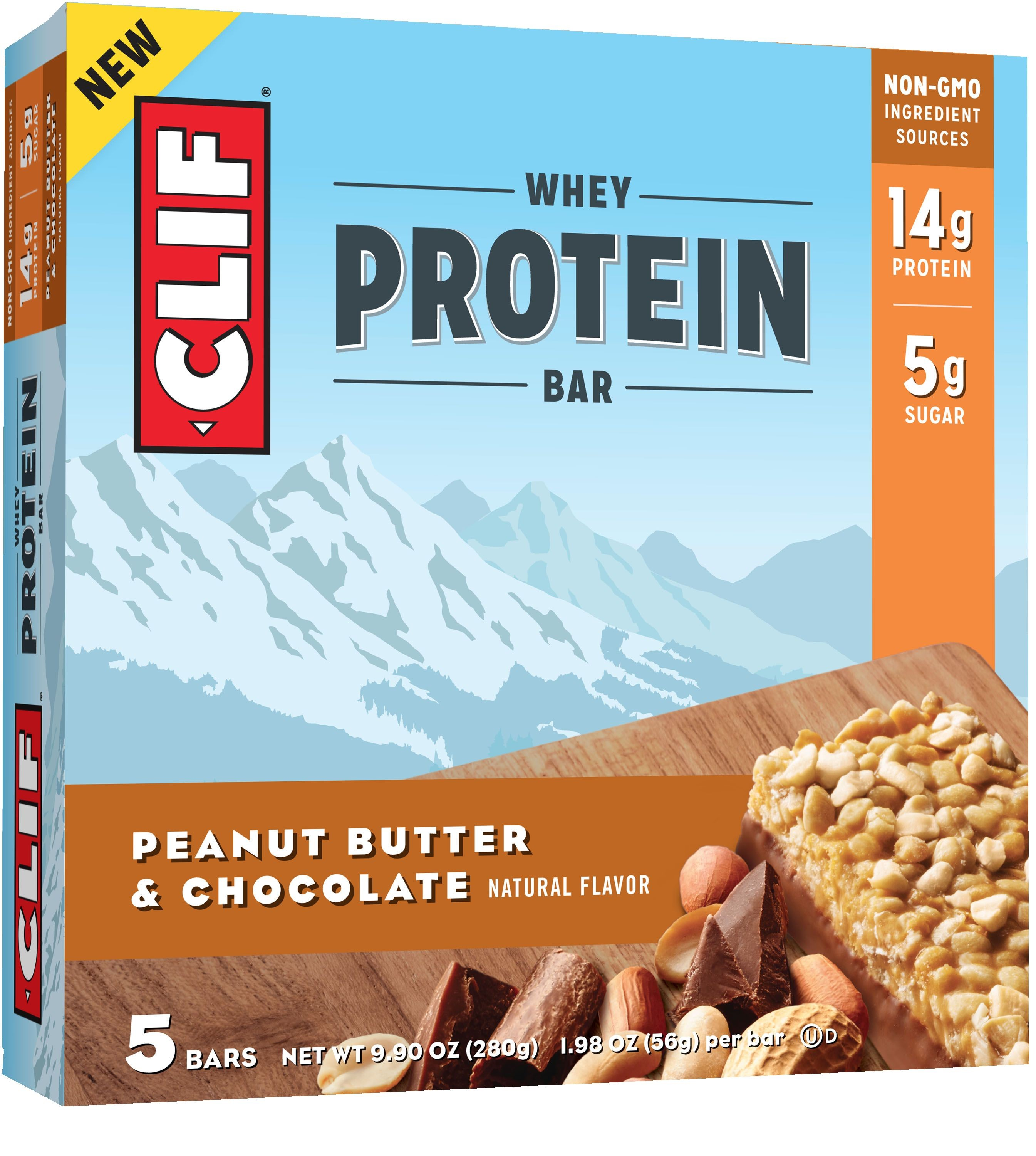 (3 Pack) CLIF® Whey Protein Peanut Butter & Chocolate Bar 5ct Box