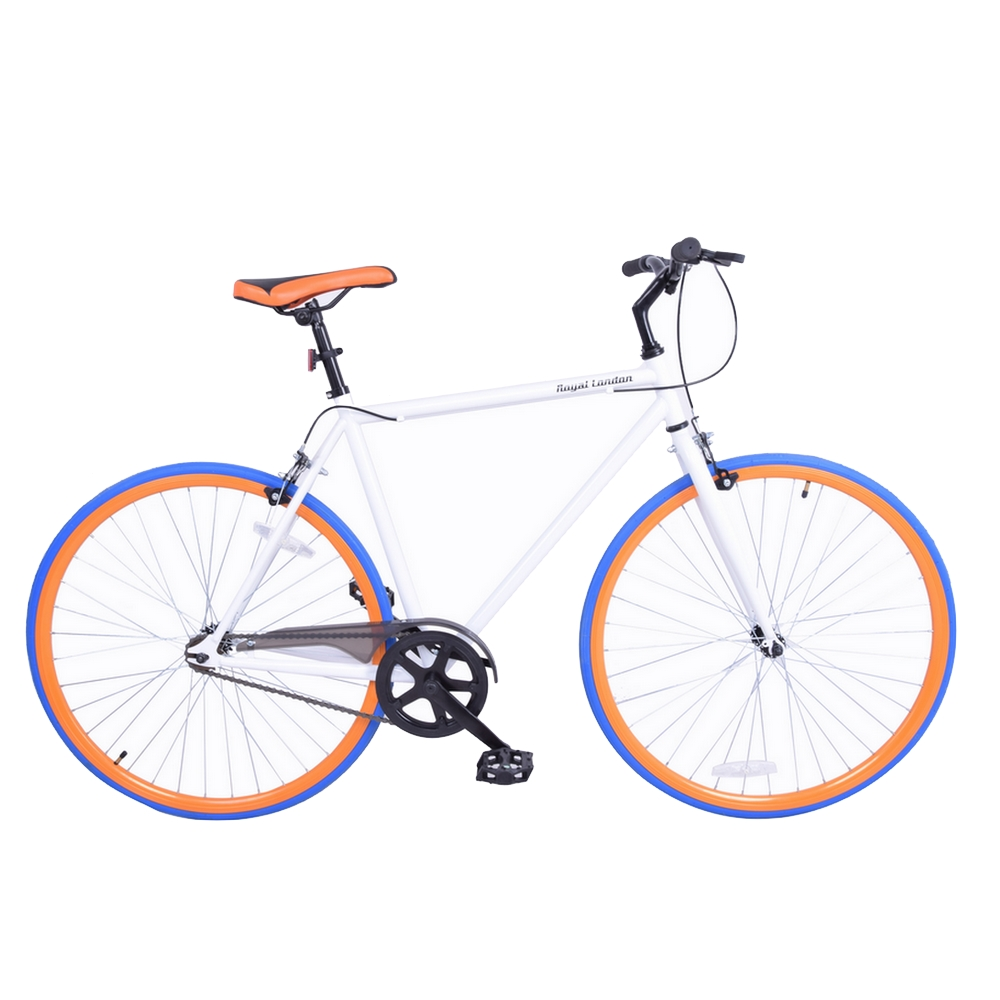Royal London Fixie Fixed Gear Single Speed Bike - White/Orange/Blue