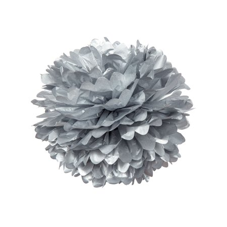 Tissue Paper Pom Pom (15-Inch, Silver) - For Baby Showers, Nurseries, and Parties - Hanging Paper Flower Decorations](Silver Baby Shower Decorations)