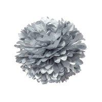 Tissue Paper Pom Pom (15-Inch, Silver) - For Baby Showers, Nurseries, and Parties - Hanging Paper Flower Decorations