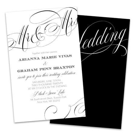 Personalized Black Script Wedding Invitations (Cat In The Hat Invitations)