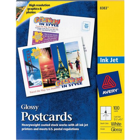 Avery Inkjet Glossy Photo (Avery Photo-Quality Glossy Postcards for Inkjet Printers, 4 1/4 x 5 1/2, White,)