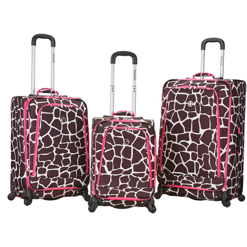 Rockland Luggage Fusion 3-Piece Expandable Spinner Luggage Set, Pink Giraffe