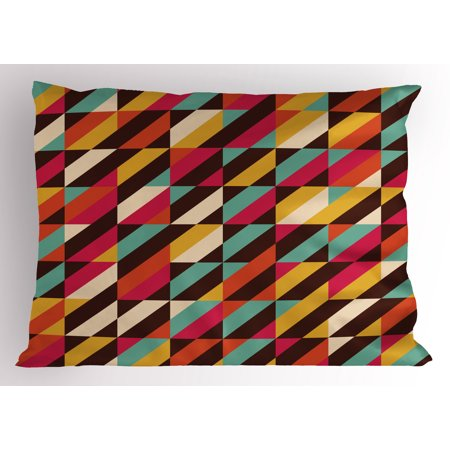 Abstract Pillow Sham Funky Geometric Square Boxes with Parallel Color Bars Triangles Stripes Retro, Decorative Standard Size Printed Pillowcase, 26 X 20 Inches, Multicolor, by Ambesonne