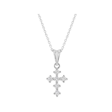 925 Sterling Silver Clear CZ Small Cross Necklace Pendant for Girls Kids 16