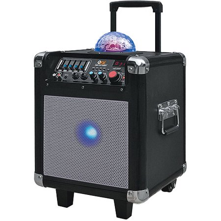 QFX Battery-Powered Bluetooth PA Speaker with FM Radio USB/SD and Disco Lights, Black