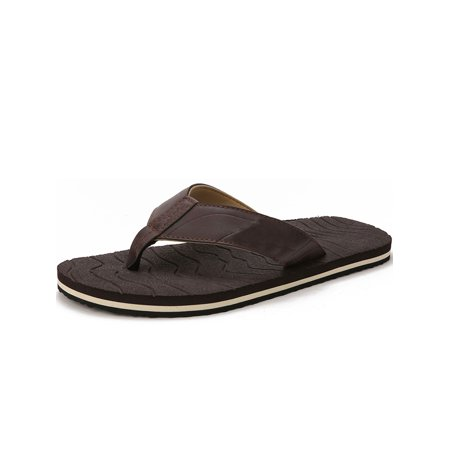 Floral Leather Thong Sandal - Men's Flip Flop Thong Sandals Comfort Lightweight Beach Slippers Big Size