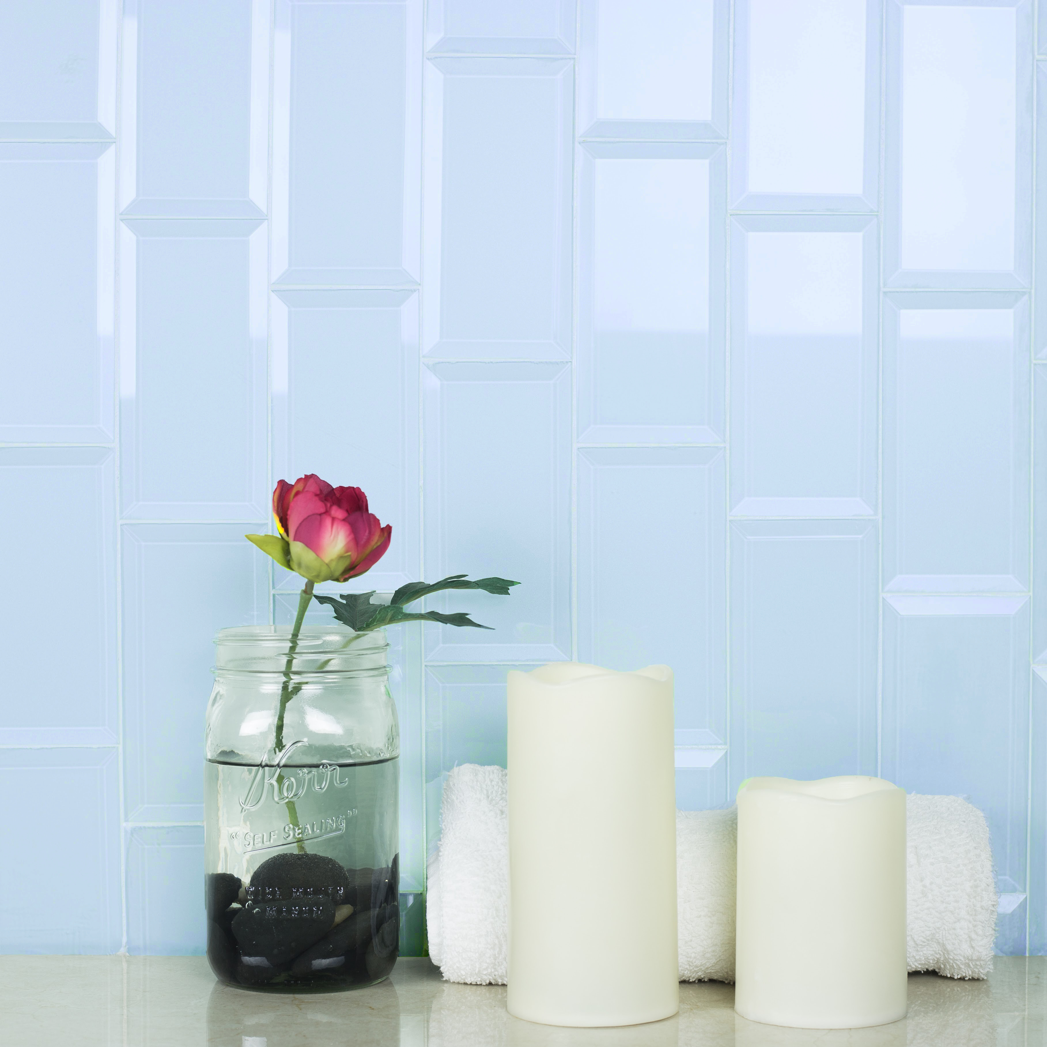 "Abolos- Frosted Elegance 3"" x 6"" Glass Subway Tile in Glossy Blue (14sqft / 112pc Box)"