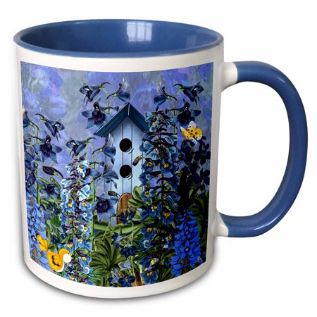 3dRose Larkspur Garden Julys Birth Flower with Birdhouse and Butterflies perfect for the July Birthday - Two Tone Blue Mug,