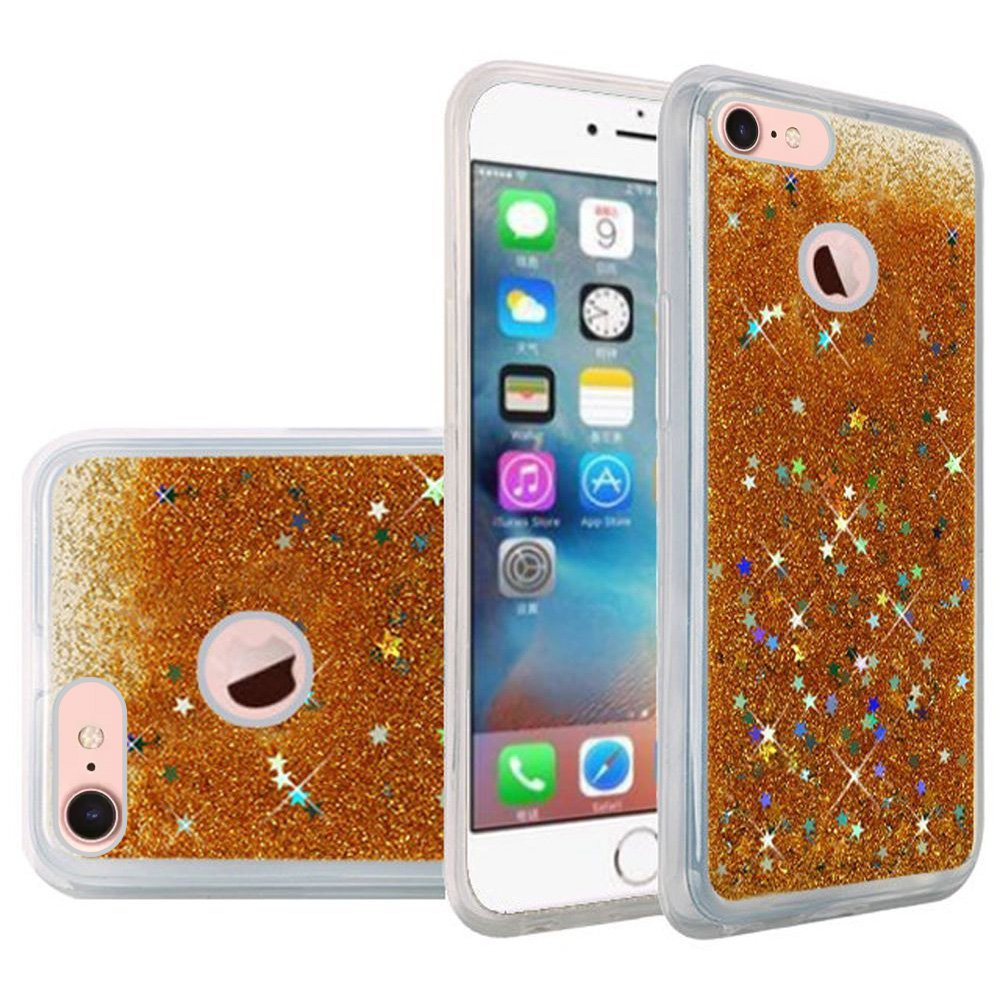 iPhone 7 Fashion Case Screen Protector Combo, Liquid Quicksand Bling Adorable flowing Floating Moving Shine Glitter ShockProof TPU Case 9H HD Tempered Glass Screen Guard for Apple iPhone 7 - Gold