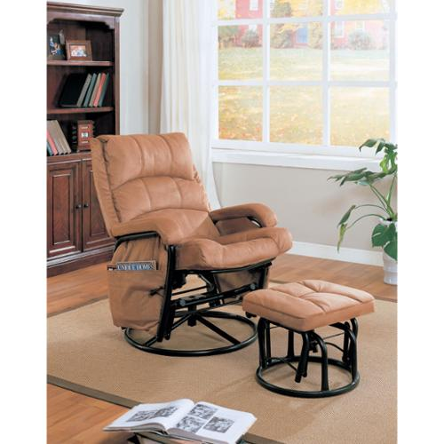 Coaster Microfiber Glider Recliner and Ottoman in Brown