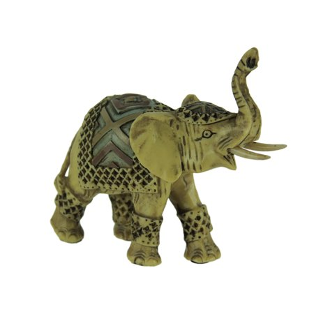 Off-White Faux Carved Decorated Elephant Statue -