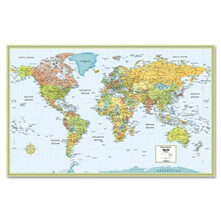 AMERICAN MAP COMPANY Hammond Deluxe Laminated Political World Map, Dry Erase, 50 x 32