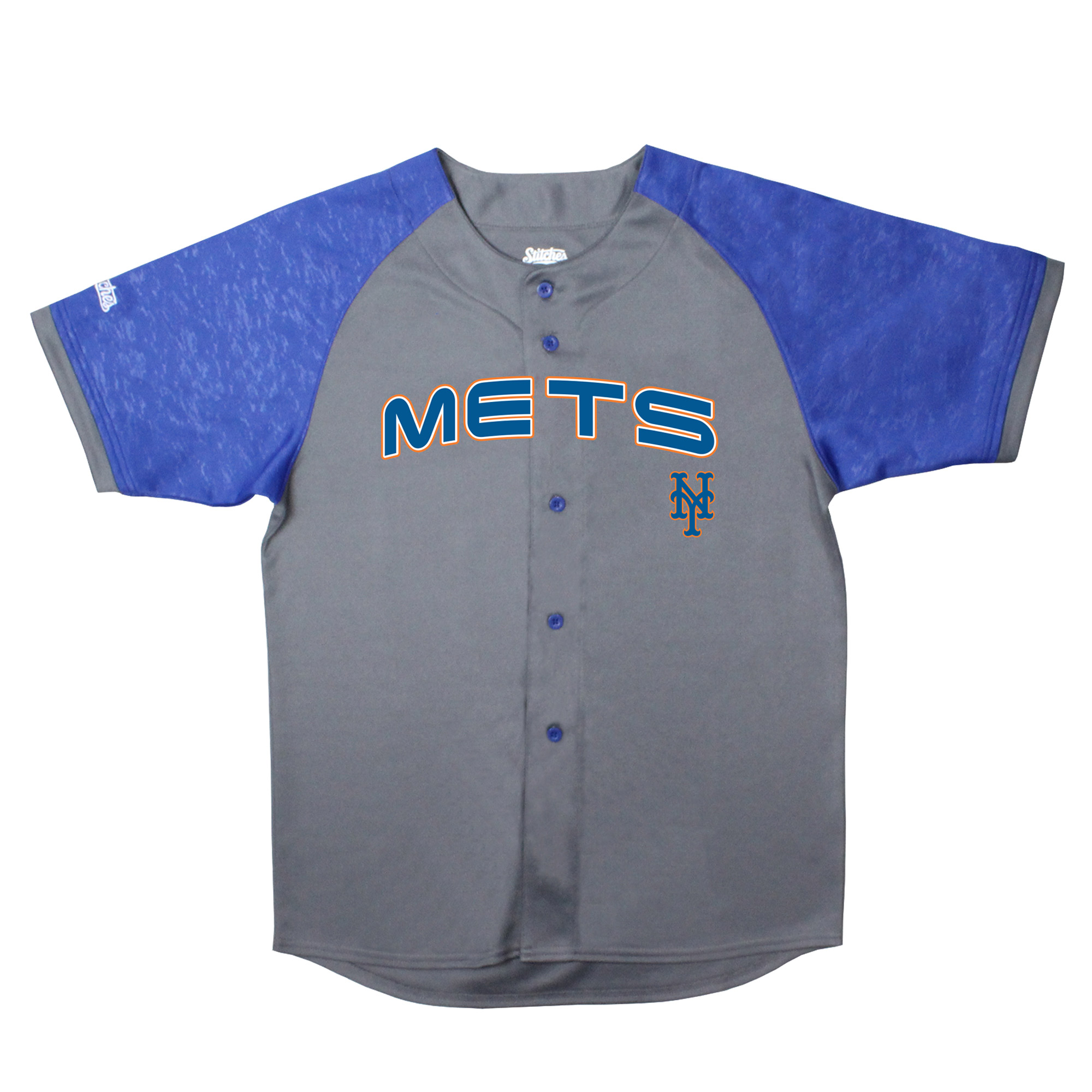 New York Mets Stitches Youth Glitch Jersey - Charcoal/Royal