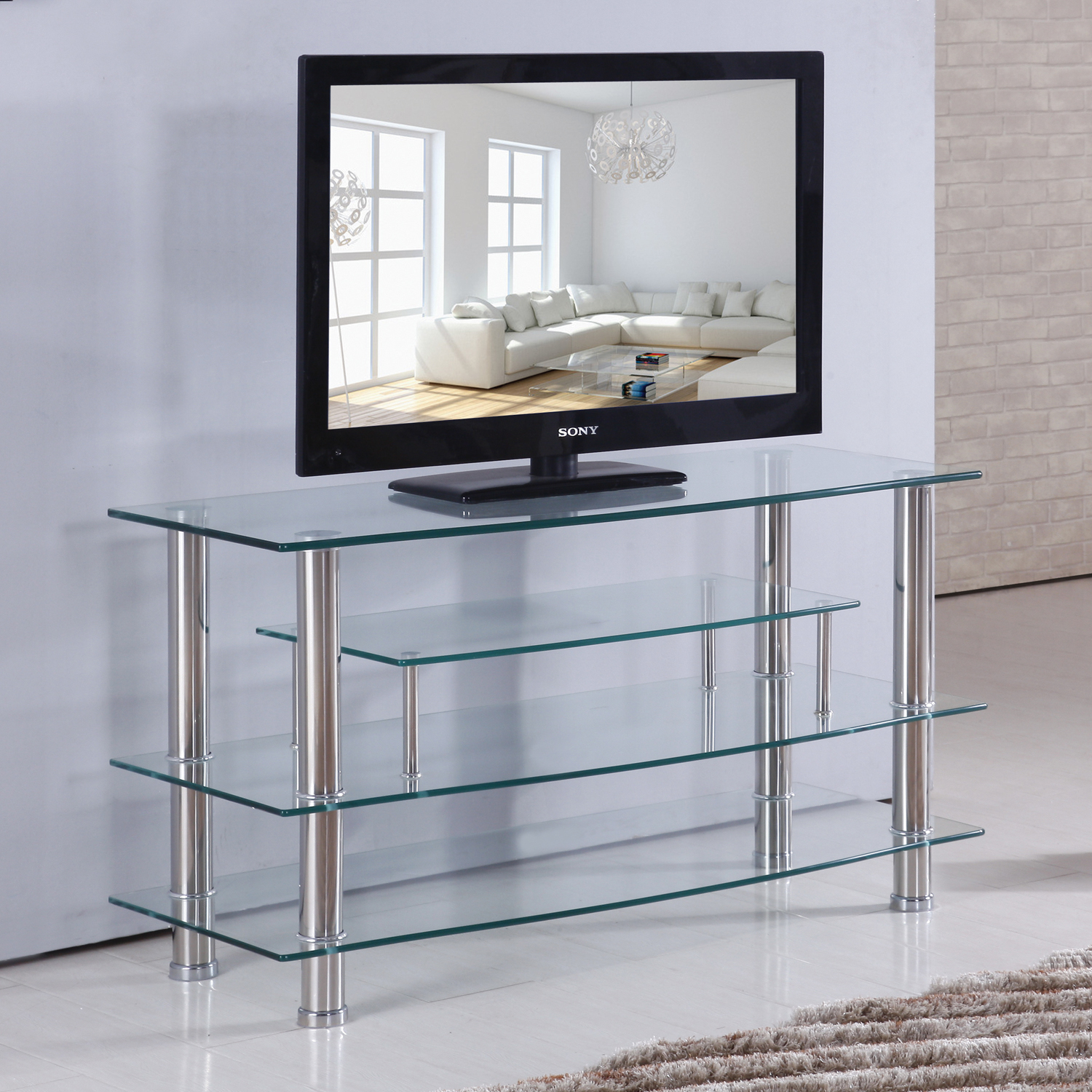 Home Source Hunter Plasma TV Stand with 4 Clear Glass Shelves and Crome Frame