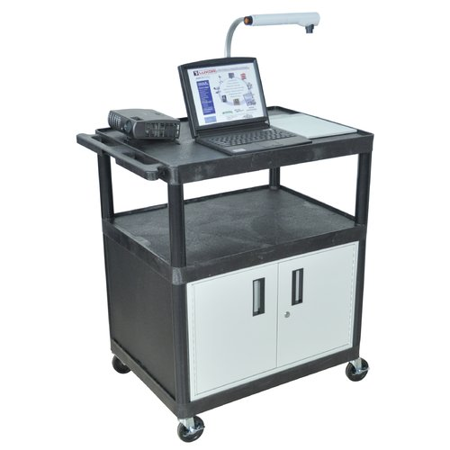 Luxor LP Carts Series AV Cart with Locking Cabinet/Electric