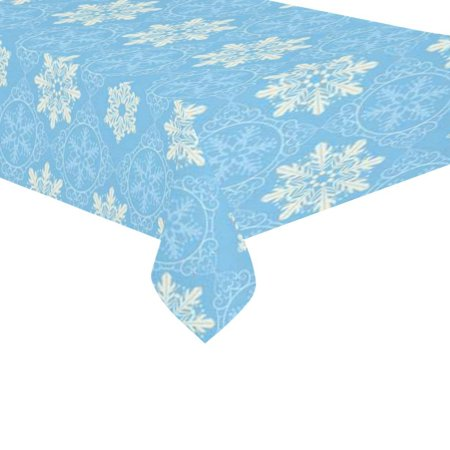 - MYPOP Christmas Winter Snowflake Tablecloth 60x104 Inches, Blue Nice Damask Tablecover Desk Table Cloth Cover for Party Decor