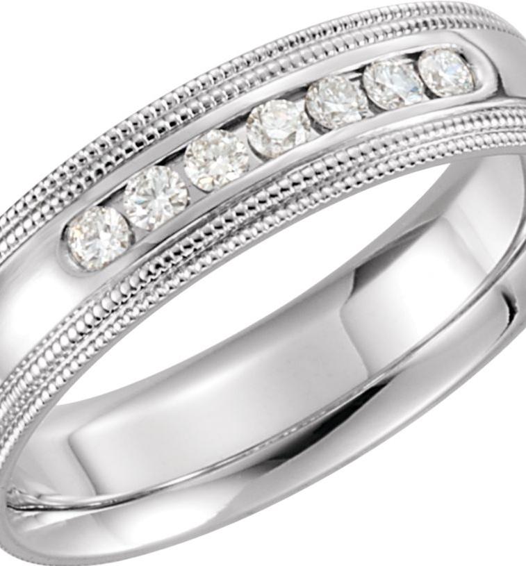 Td123886w 14k White Gold 6mm Double Milgrain Comfort Fit: Roy Rose Jewelry 14K White Gold 1/4-Carat Tw 7 Diamond 6mm