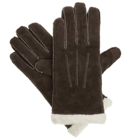 Womens Moccasin Stitched Brown Suede Gloves With Sherpasoft Lining