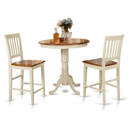 East West Furniture Jackson 3 Piece Slat Back Dining Table Set