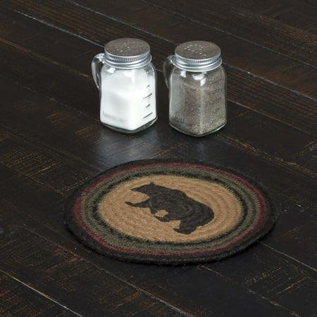 - Dark Tan Rustic & Lodge Tabletop Kitchen Laramie Bear Jute Stenciled Nature Print Round Trivet