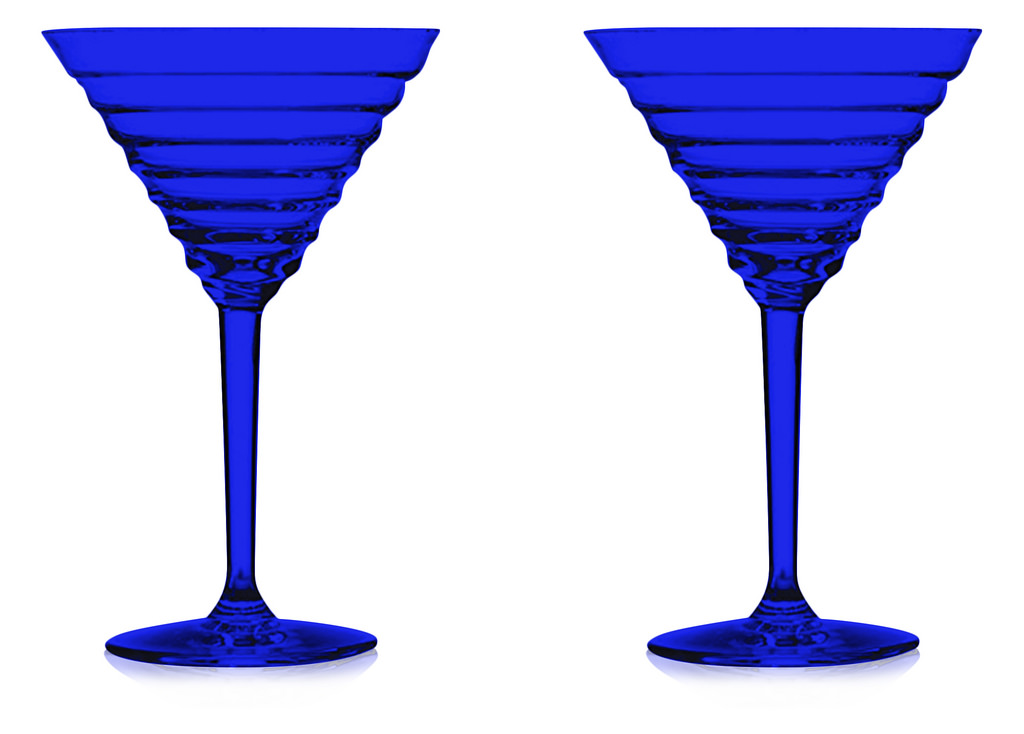 "Full Blue Color Manhattan ""Skyscraper"" Cocktail Glass (Set of 2)) by TableTop... by TableTop King"