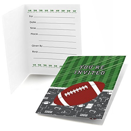 End Zone - Football - Fill In Baby Shower or Birthday Invitations (8 count)