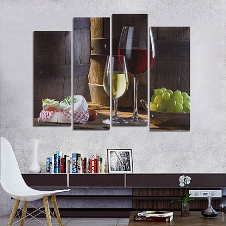 Painting Wall Panel (4 Panel Unframed Canvas Wall Art Modern Abstract Oil Painting Picture Print Red Wine Dessert Grape Home Decor Gift )
