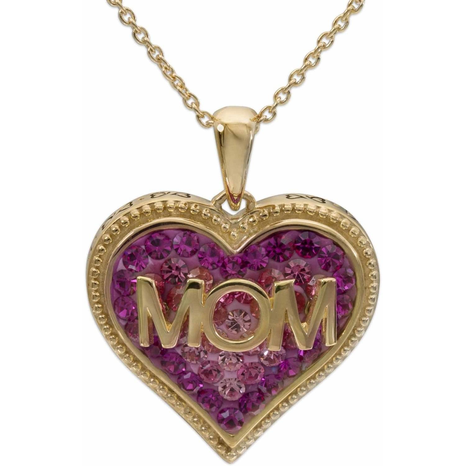 """Crystal 18kt Gold-Tone Pink Mom Heart Pendant, 18"""" Chain"""