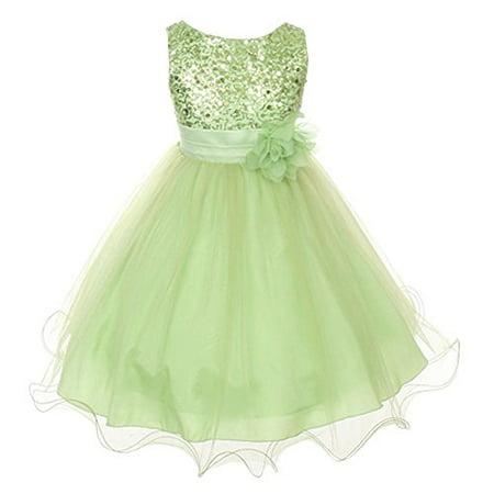 Flower Girls Dress Sequin Glitter Beaded Dress Wedding Prom Bridesmaid Lime Green Baby Size S-XL Girls 2-14 Months)](Lime Green Wedding)