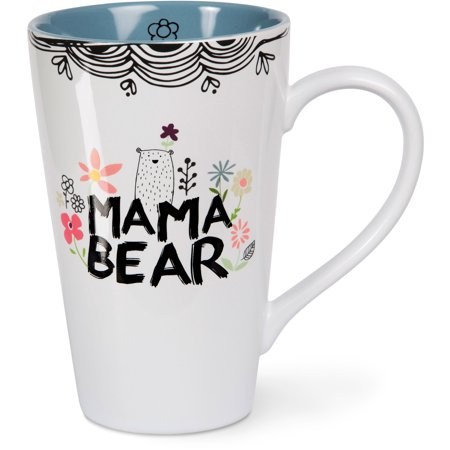 Pavilion - Mama Bear Floral Patterned Latte Mug Coffee Mug Tea Cup - Chicago Bears Cups