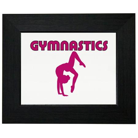 Handstand Framed (Gymnastics Gymnast Doing One Hand Handstand Graphic Framed Print Poster Wall or Desk Mount Options )
