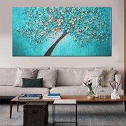 Unframed Print Canvas Blue Plum Flower Oil Painting Picture Home Bedroom Wall Art Decor 24''x47'' (Random Pattern)