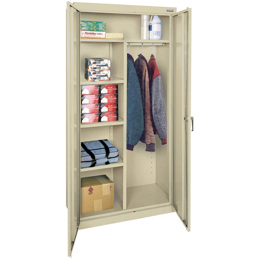 "Classic Series 36""W x 72""H x 18""D Combination Storage Cabinet with Adjustable Shelves, Putty"