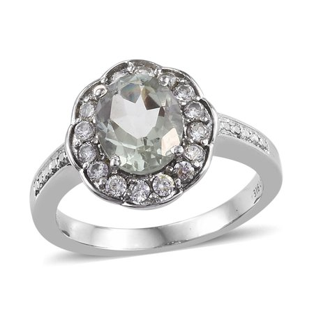 Stainless Steel Oval Green Amethyst Cubic Zirconia Ring Gift For Her Cttw