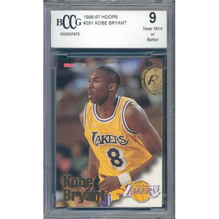 1996-97 hoops #281 KOBE BRYANT los angeles lakers rookie card BGS BCCG 9