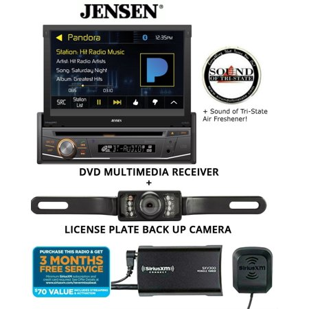 Jensen VX3518 DVD receiver w/ SiriusXM SXV300KV1 Satellite Radio Tuner and License Plate Backup Camera and a SOTS Air Freshener