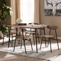Baxton Studio Darcia Rustic and Industrial Brown Wood Finished Matte Black Frame 5-Piece Dining Set