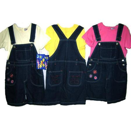 Girls's Sizes 4/5/6/6X Denim Embroidered Shortalls 2-PC Sets. * 1 Unit Set Pack * Embroidered Pocket Shortall