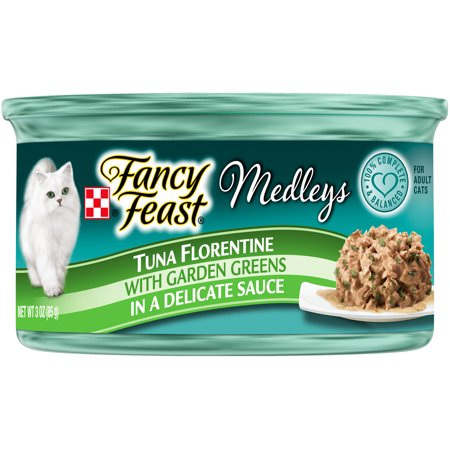 (24 Pack) Fancy Feast Medleys Tuna Florentine With Garden Greens in a Delicate Sauce Adult Wet Cat Food, 3 oz. Cans