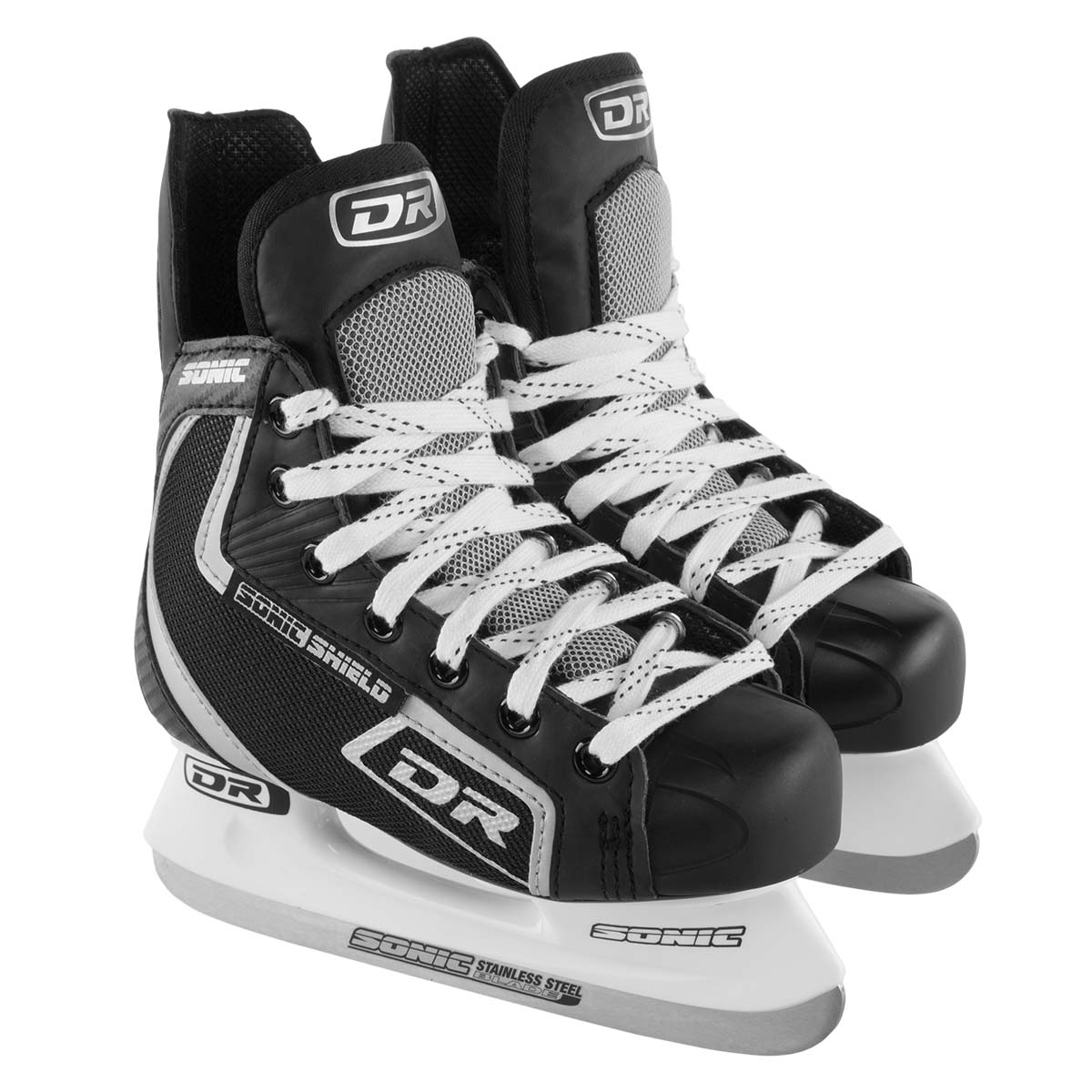 DR Sports Sonic Shield Boys Ice Hockey Skates For Kids Stainless Steel Blades Laces Eyelets Athletic Shoe by