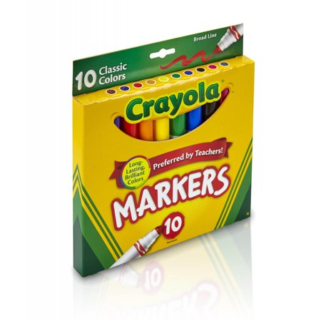 Crayola Broad Line Markers, Classic Colors, School Supplies, 10 Count (Crayola Gel Markers)