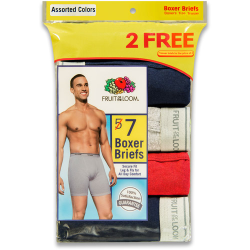 Bonus Pack! Fruit of the Loom Men's 5 2 Free Pack Assorted Color Boxer Briefs