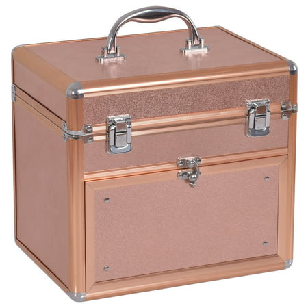 Gymax Nail Accessories Organizer Makeup Case Polish Travel Box Panel With Drawer ()